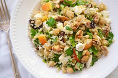 Quinoa salad w apples and feta.