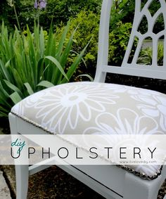 How To Reupholster A Chair: an easy step-by-step tutorial anyone can do! Check out the before pic!