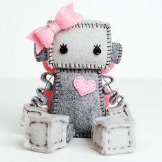 Fairy Robot Plush with Pink Fairy Wings Girl Robot by GinnyPenny
