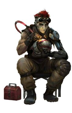 Human Bounty Hunter Mechanic - Starfinder RPG (Core Rulebook Art)