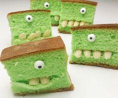 Op Moodkids kwam ik ze een tijdje geleden tegen: deze grappige cakemonsters. Met Pandan groene cake en amandelen maak je een enge, maar smakelijke traktati