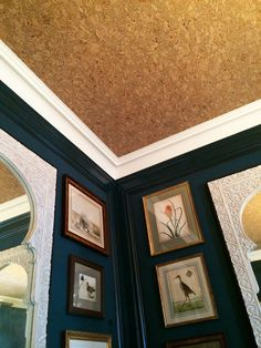 "Who knew you could use cork on a ceiling? Great idea for hiding those pesky ""house settling"" ceiling cracks or for those not in love with the idea of painting ceilings."