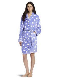 Seven Apparel Hotel Spa Collection Ladies Chic Printed Plush Bath Robes, Lavender Polka Dots $15.99