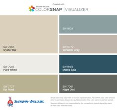 I found these colors with ColorSnap® Visualizer for iPhone by Sherwin-Williams: Oyster Bar (SW 7565), Pure White (SW 7005), Koi Pond (SW 7727), Delft (SW 9134), Versatile Gray (SW 6072), Marea Baja (SW 9185), Night Owl (SW 7061).