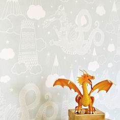 Dragon Sky by Majvillan - Grey - Wallpaper : Wallpaper Direct Hallway Wallpaper, Neutral Wallpaper, Boys Wallpaper, Kitchen Wallpaper, Geometric Wallpaper, Pattern Wallpaper, Wallpaper Online, Wallpaper Ideas, Dragons