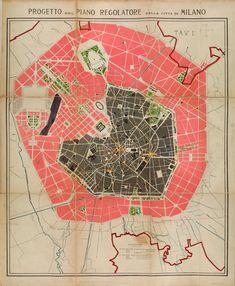 Progetto del Piano Regolatore della citta di #Milano 1884. Bello ¿verdad?