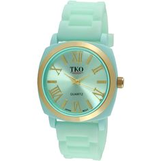 TKO ORLOGI Milano III Womens Mint Silicone Strap Watch ($76) ❤ liked on Polyvore featuring jewelry, watches, dial watches, roman numeral bracelet, tko orlogi, bracelet jewelry and wide bracelet