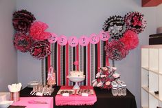 Backdrop idea, pom poms and streamers. THREElittleBIRDS Events: Hot Pink and Zebra Print Party