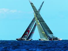 Oracle BMW Racing sailboat USA-76  racing against Team Alinghi of Switzerland in the finals of the Louis Vuitton Cup, 2003.