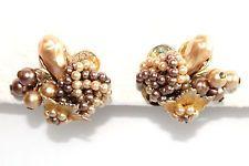 Vintage Miriam Haskell/DeMario? Baroque Pearl Beaded Dangle Cluster Earrings