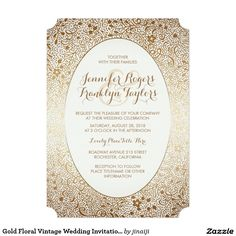 Gold Floral Vintage Wedding Invitations