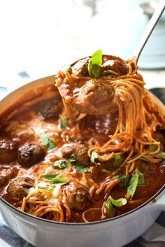 Extra soft, extra juicy and extra tasty meatballs, served up in a cheesy tomato spaghetti soup that's all made in one pot! By cooking them in the same pot the soup is made in,... Read More »