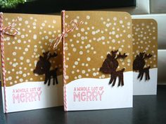 Reindeer Christmas Cards Set of 4 Holiday Cards by apaperaffaire