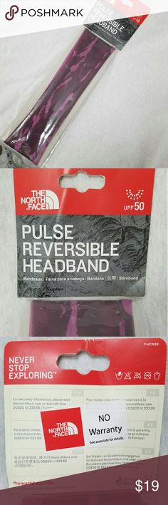 """NORTH FACE *nwt*'Parlor Purple Reversible Headband Brand: The North Face  Item: *NWT Pulse Reversible Performance Headband *Purple Parlor is the Color Print *UPF 50 *Measure 9.5"""" Long Flat by 2.5"""" Wide  *no trades, offers via offer button only* The North Face Accessories Hair Accessories"""