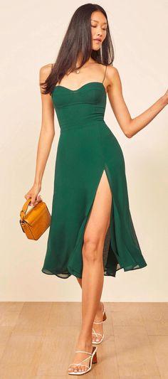 Casual Dresses, Fashion Dresses, Summer Dresses, Green Dress Casual, Modest Fashion, Green Party Dress, Green Cocktail Dress, Pretty Dresses, Beautiful Dresses