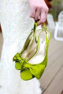 Green bridal shoes.