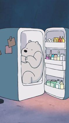 Ice Bear in fridge from We Bare Bears cartoon Phone lock screen wallpaper