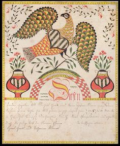 Birth & baptismal certificate for Eleina Haack c. 1830. Attributed to the Northampton Co. Artist (active c. 1816–1837); Chestnuthill Township, Northampton (now Monroe) Co., Pennsylvania; Watercolor & ink on wove paper; 15 1/2 × 12 1/2 in. The so-called Northampton County Artist is known to have made only about a dozen fraktur, mostly for members of the Haack, Serfass, and Dotter families of Chestnuthill Township, Northampton (now Monroe) County.