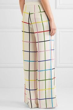 Mary Katrantzou - Donis Checked Stretch-crepe Wide-leg Pants - Off-white - UK10