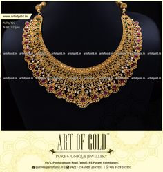 This Designer Bridal Necklace has all 3 and a lot more! Antique Jewellery Designs, Gold Earrings Designs, Gold Jewellery Design, Bridal Necklace, Bridal Jewelry, Jewelry Art, Gold Jewelry, Jewelery, Gold Necklaces