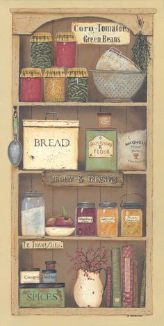 Farmhouse Pantry II by Pam Britton art print Art And Illustration, Illustrations, Primitive Kitchen, Country Primitive, Country Kitchen, Country Art, Country Decor, Kitchen Art Prints, Posters Vintage