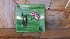 Fused Glass Dragonfly Plate, Dichroic Pink Dragonfly on streaky green background