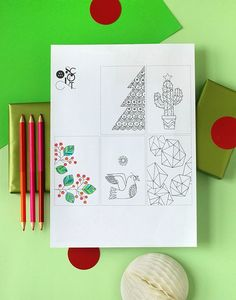 Free printable Christmas wrap and tags to colour in - Lisa Tilse for We Are Scout. #colouring