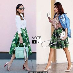 Who styles this cute #palmprint skirt better and WHY?   Thoughts? . Check the poll and what others fashionistas talk about it  https://goo.gl/DTrDDB (or TAP the link in our bio) pics: @jenniferlake @shades_of_shoes skirt: @partyskirts . . . . . . . #ootd #streetstyle #styleblogger #outfitinspiration #FashionInspo #outfitideas #styleguide #StyleTips #stylechallenge #fashionblogger #outfitoftheday #Fashionista #casualstyle #casualoutfit #streetstylefashion #fashionblogger #fblog #fblogger…