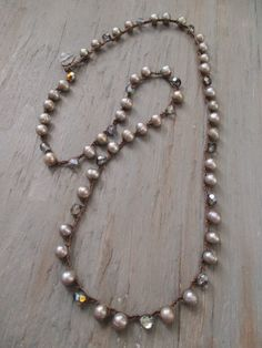 Freshwater Pearl long crochet necklace Perfectly by slashKnots