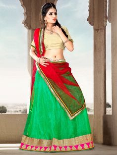 Green Net Lehenga Choli with Lace Work
