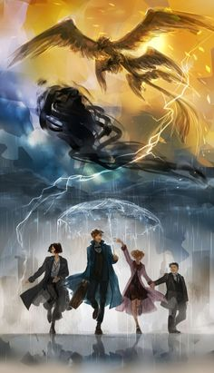 """New York is considerably more interesting than I expected."" Newt, Tina, Queenie & Jacob - Fantastic Beasts and Where to Find Them Wizarding World Harry Potter Anime, Harry Potter Fan Art, Estilo Harry Potter, Mundo Harry Potter, Harry Potter Universal, Harry Potter Movies, Harry Potter Fandom, Harry Potter World, Hogwarts"