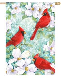 Cardinal and Dogwood Suede Reflections House Flag