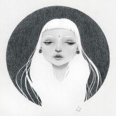 """하늬바람 (Hanibaram) by Soey Milk 6""""x6"""" pencil on paper milkbomb.blogspot.com"""