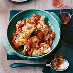 Chicken with Piquillos Pilar Sanchez, an elderly home cook who lives in Asturias, taught Mario Batali and Mark Bittman how to make pollo casero, a luscious chicken in rich white wine and pepper sauce. When they asked where...see more