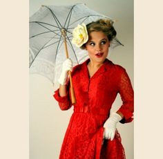 1950s Red Lace Swing Dress - $225.00