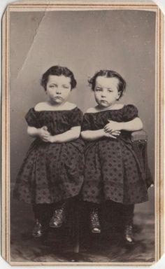 CDV Victorian TWIN Girls Dress Fashion - Cookingham of Jackson Michigan 1860s