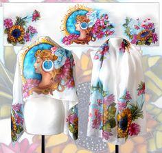 Spring lady silk scarf flowers  greek goddess  Flora