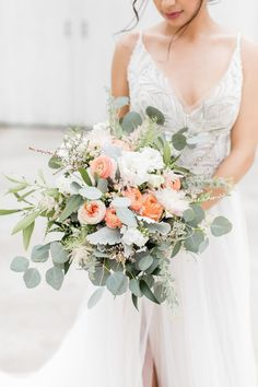 Peach and Green Bouquet wedding flowers Romantic Wedding Inspiration with Adoptable Puppy Coral Wedding Flowers, Sage Green Wedding, Peach Flowers, Wedding Flower Arrangements, Bridal Flowers, Flower Bouquet Wedding, Floral Wedding, Romantic Wedding Flowers, Sun Flowers