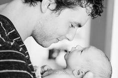 newborn photography, dad with baby, black & white