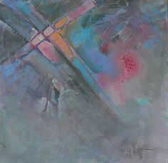 """CAROL SCHIFF DAILY PAINTING STUDIO: Abstract,Mixed Media Oil and Acrylic, 10x10"""" """"Layers II"""""""