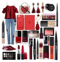 """""""Sin título #650"""" by frichu on Polyvore featuring moda, Topshop, Anna October, adidas, Kate Spade, NYX, NARS Cosmetics, Chanel, Maybelline y MAC Cosmetics"""