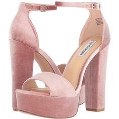 Steve Madden Gonzo-V (Blush Velvet) High Heels (205 PEN) ❤ liked on Polyvore featuring shoes, heels, zapatos, steve madden, high heeled footwear, velvet platform shoes, vintage style shoes and synthetic shoes