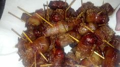 Bacon Wrapped Little Smokies  3 ingredients, super simple appetizer or party food.