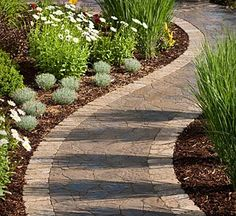 curved paving stone walk way