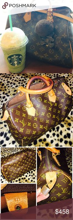 ✅Louis Vuitton speedy 35 100%Authentic LV 35 This item preloved and Shows Basic sign of usage/ some loose thread on top /minor scuffing on edges /Missing 2 inside rivets loose thread/But Doesn't Affect the usage/The Zipper pull and Zipper has been replaced in a leather store /some cracks which is typical to a LV Piece,inside is very good vintage perfection./ Date code is shown on pic Honey patina Beautiful. Come with 100% LV Padlock But No KEY/Speedy35 IS The perfect SIZE For women on the go…