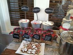 Hot chocolate bar.  Juliana did this at our holiday open house.  Fantastic idea and it was a hit!                                                                                                                                                                                 More