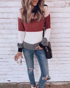 I love color block shirts and sweaters and I think these colors would look nice - Fall Shirts - Ideas of Fall Shirts Fall Shirts for sales. - I love color block shirts and sweaters and I think these colors would look nice on me! Shorts Casual, Casual Outfits, Cute Outfits, Fashion Outfits, Womens Fashion, Mom Outfits, Sweater Outfits, Fall Winter Outfits, Autumn Winter Fashion