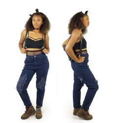 Dark Wash Early 90s Chic Ripped Jeans Vintage Grunge Jeans