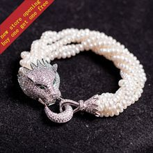 S925 sterling silver inlaid CZ  Pearl Panther natural pearl bracelet export jewelry free shipping(China (Mainland))
