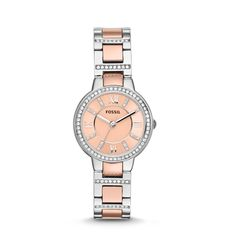 Fossil Virginia Three-Hand Stainless Steel Watch – Two-Tone!! Want for Christmas!! It'd be soooo cute with a bangle!!